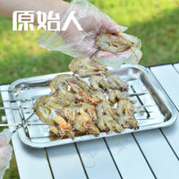 Primitive Barbecue Tool Accessories Food Plate Stainless Steel Food Plate Rectangular Household Food BBQ Grill