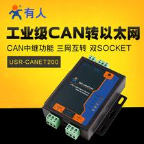有人工业级串口服务器CAN以太网RS485互转USRCANET200