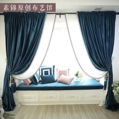 素锦原创-轻奢简约现代窗帘纯色荷兰绒布遮光布料别墅客厅卧室品牌排行