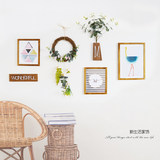 Small fresh Nordic solid wood photo wall modern minimalist green plant photo frame combination wall decoration creative photo wall