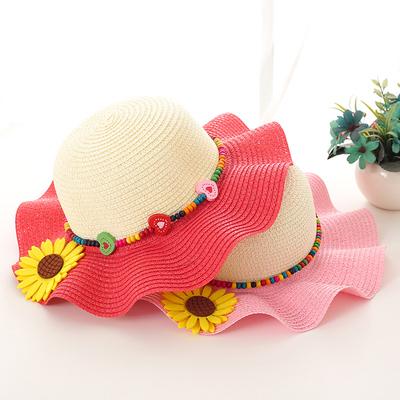 草帽女童夏天防晒遮阳帽子亲子母女大檐沙滩帽可折叠小女孩太阳帽
