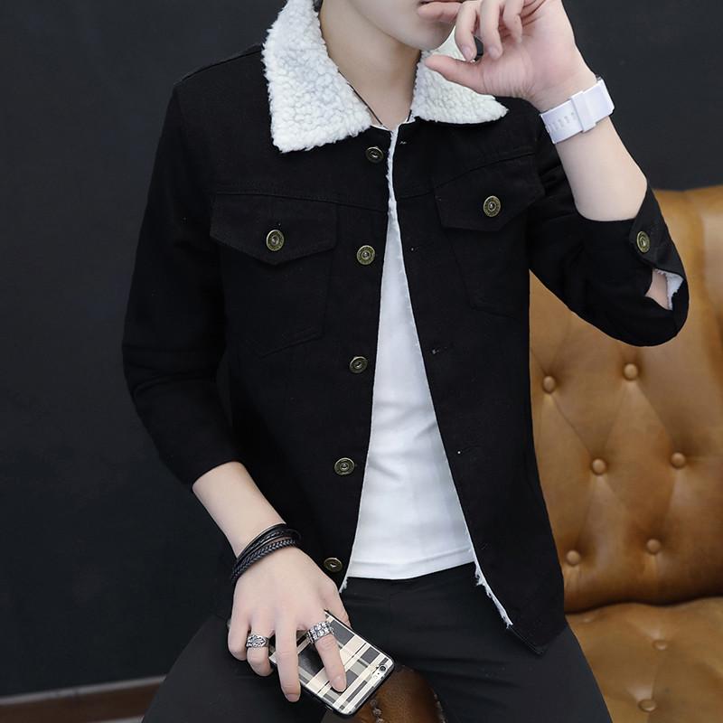 冬季加绒牛仔外套男修身加厚保暖夹克羊羔青少年棉衣棉服男上衣潮图片