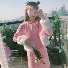 秋冬装新款韩版毛毛拼接毛呢短外套+纯色呢子背心连衣裙两件套潮