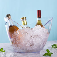 Plastic transparent ingot ice bucket Acrylic champagne bucket beer big ice wine barrel ice bucket Bar KTV commercial