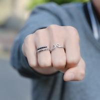 925纯银紧箍咒戒指男士情侣对戒孙悟空金箍棒个性单身至尊宝指环