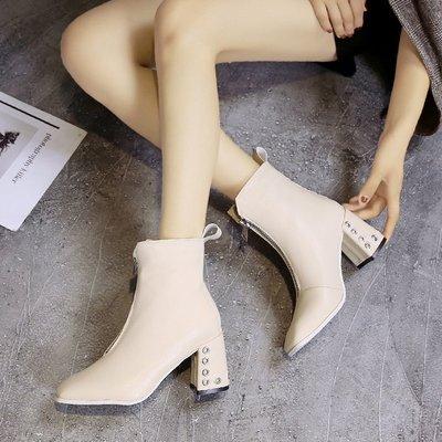 女靴子白色短靴秋冬季2018新款英伦风前拉链方头马丁靴高跟鞋粗跟