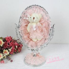 泰迪熊小熊公主镜可爱PVC镀锌台式蕾丝镜子/柱脚镜/化妆镜/台镜子