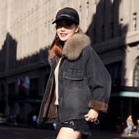 加绒加厚牛仔棉衣女短款2018新款冬装韩版宽松大毛领牛仔棉服外套