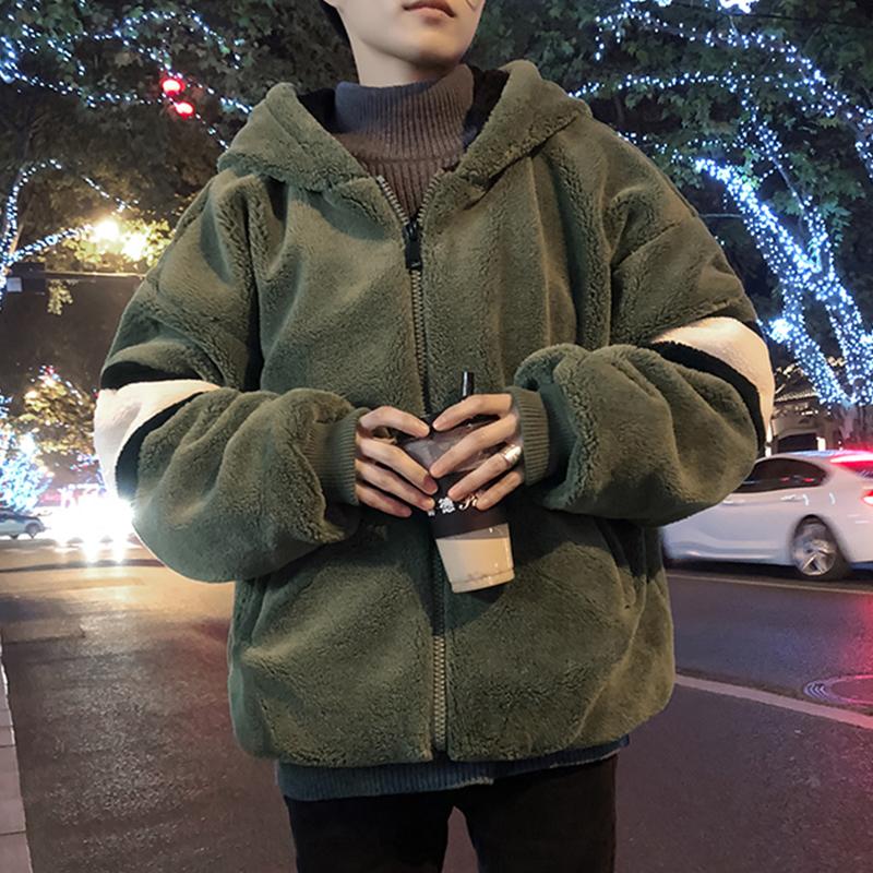 冬季羊羔毛棉衣外套男韩版潮潮流帅气加绒加厚宽松bf学生休闲棉袄