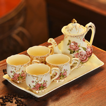 Coffee cup set British afternoon tea cup black tea cup European tea set ceramic cup and saucer home cup with elegant