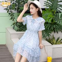 中大童女童夏装2019新款女孩12连衣裙13雪纺儿童公主裙子15岁洋气