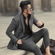 秋冬新款双排扣灰色格纹西装男装修身呢子西装 型男休闲西服 F311