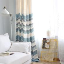 北欧客厅窗帘半遮光飘窗阳台半帘落地窗帘简约现代蓝色棉麻布文艺