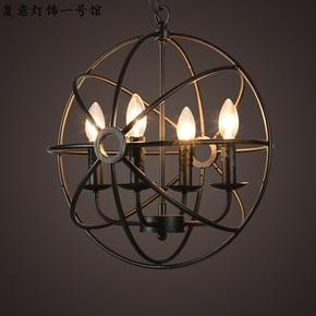 美式乡村酒吧台餐客厅咖啡馆蜡烛灯LOFT复古工业铁艺地球仪吊灯
