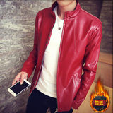 Men's pu leather jacket short vertical collar locomotive suit Korean version of the slim men's red jacket thin young size