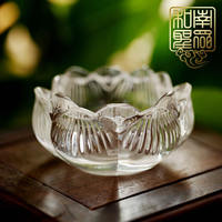 Buddha Hall decoration for butter lamp holder seven for lamp candlestick transparent crystal lotus lamp Buddha light 8