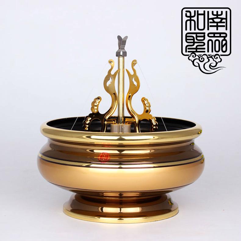 香道用品 檀香炉 台湾6英寸古铜纯铜香炉24小时大盘香立香双用