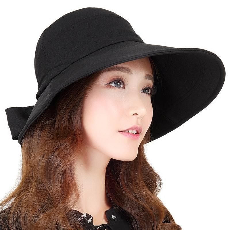 春夏天户外大沿遮脸遮阳帽夏季休闲渔夫帽子女士防晒太阳帽可折叠
