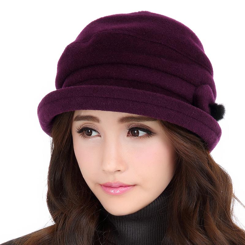 依鸽羊毛呢卷边小礼帽子女士保暖绒秋冬天贝雷英伦时尚冬季帽690