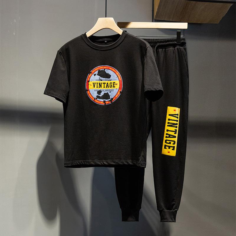 夏季套装男士薄款纯棉短袖t恤两件套2019新款韩版潮流运动休闲装