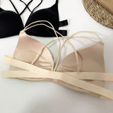 Spring Korean small bra wild beauty back ladies inside underwear without steel ring gathered backless no trace solid color bra