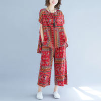 Cotton and linen printed pants suit female summer new national style large size loose T-shirt seven points wide leg pants two-piece