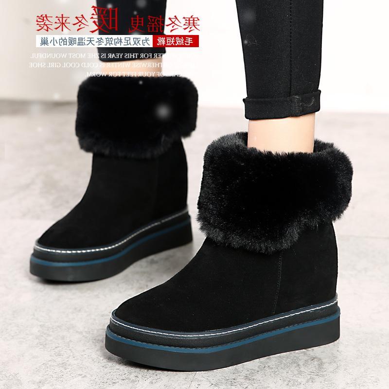 洛百丽专柜正品内增高雪地靴中筒短靴韩版秋冬季女鞋棉鞋真皮学生