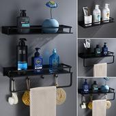 太空铝多功能厨卫双用双层长方置物架 免打孔黑色浴室双层置物架图片