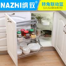 橱柜拉篮不锈钢厨房厨柜调味篮抽屉置物架收纳单双层拉篮