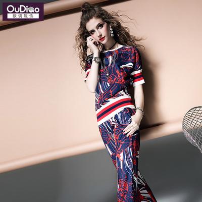 欧调欧洲站2018夏装新款欧货潮时髦洋气两件套套装女装T恤+休闲裤