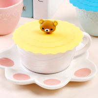 Food grade silicone cup cover large seal cover Cute cartoon mug cover dustproof leakproof cup cover