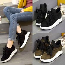 春季韩版系带黑色运动鞋休闲鞋女新款单鞋磨砂皮面松糕厚底学生鞋