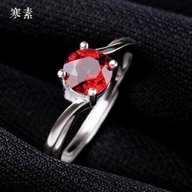 寒素天然酒红色石榴石S925纯银戒指女活口彩色红宝石水晶紫牙乌尾图片