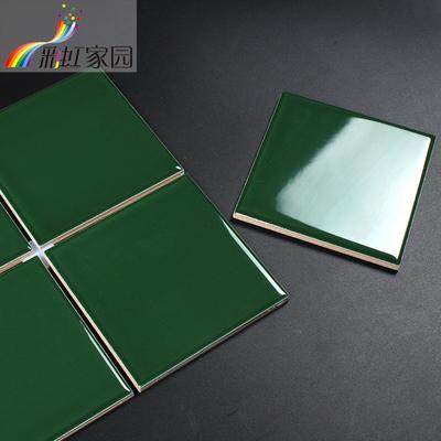 北欧绿色地铁砖墨绿色瓷砖釉面砖厨房卫生间浴室墙砖绿色小砖100