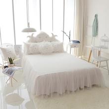 韩式夏天床裙单件白色公主床罩纯棉全棉床单裙式三件套定制无床尾
