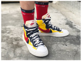 US8 sneakers custom-made sacai fake double-decker deconstructed creative socks blazer white and blue socks