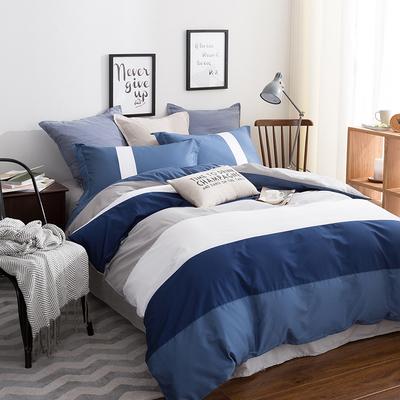 全棉床单被套床笠式地中海纯棉四件套男士男孩英伦风床上用品1.5性价比高吗