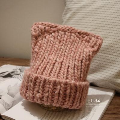 可爱粉色耳朵恶魔羊毛手工粗毛线帽卷边加厚保暖女士针织秋冬帽子