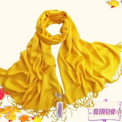 新款纯棉围巾披肩长巾棉质黄色单色秋冬女款围巾女士流苏围巾披肩