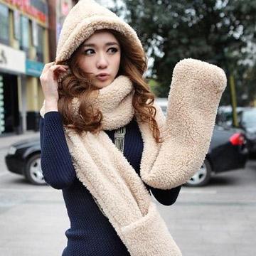 帽子围巾手套一体三件套 女 冬天两件套韩版潮可爱围脖加厚学生