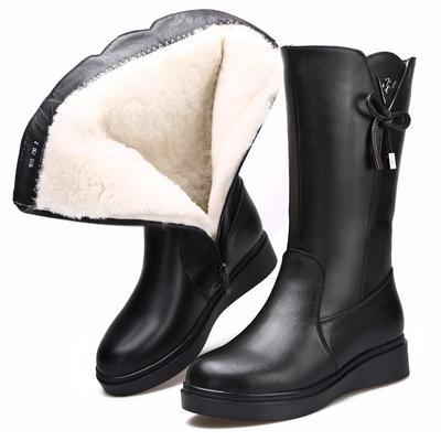 2019冬季新款真皮女靴加绒保暖羊毛靴平底防滑雪地靴厚底妈妈棉鞋