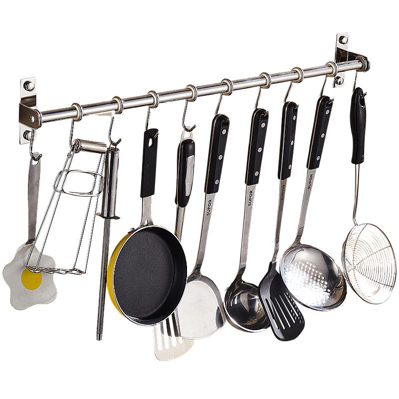 免打孔厨房挂钩挂杆304不锈钢厨房挂钩厨房架免钉挂钩壁挂置物架