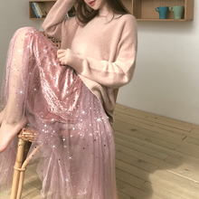 SDJ Super Fairy Dream Semi-sequined Peng Half-length Skirt New High-waist Irregular Mesh Fairy Skirt in Autumn and Winter 2018