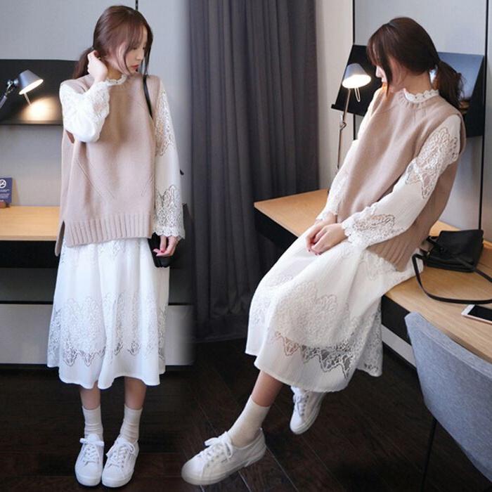 针织马甲蕾丝两件套连衣裙