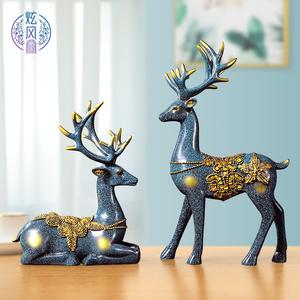 招财鹿北欧风家居电视柜客厅酒柜装饰品摆件欧式乔迁新居创意礼品