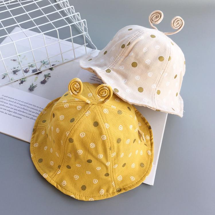 春秋宝宝渔夫帽子圆点蜗牛盆帽太阳帽夏天1-2-3岁男女儿童遮阳帽