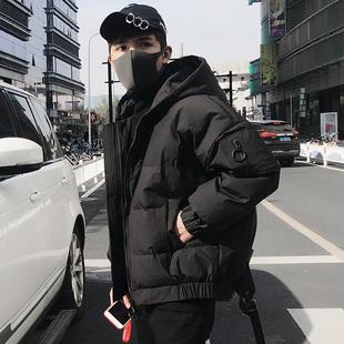 羽绒服男士短款帅气冬季青年加厚韩版2017新款潮学生休闲黑色连帽