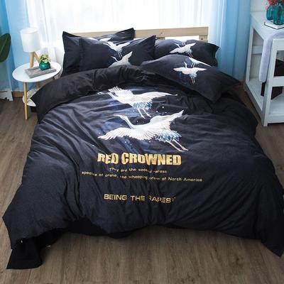 日式仙鹤床上四件套1.5米1.8m床双人床单被套枕套 简约现代三件套