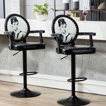铁艺星巴克复古高脚椅吧台凳实木桌椅组合酒吧高吧椅小圆方桌皮凳