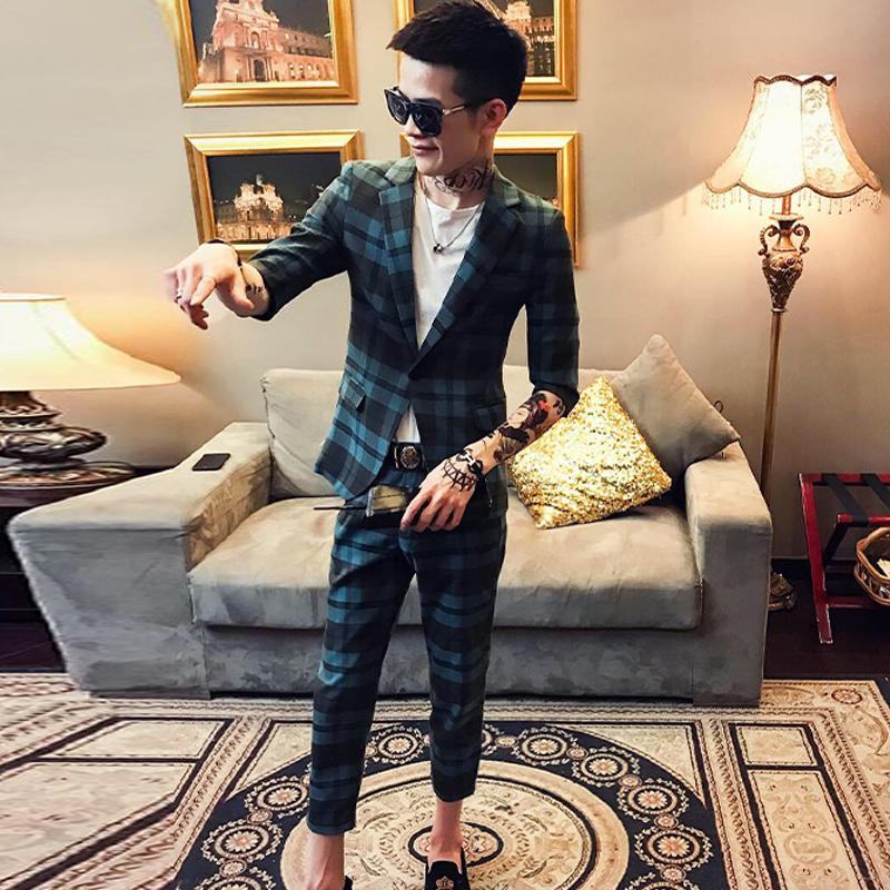 夏季韩版修身帅气格子七分袖西服套装九分裤男潮流青年夜店两件套